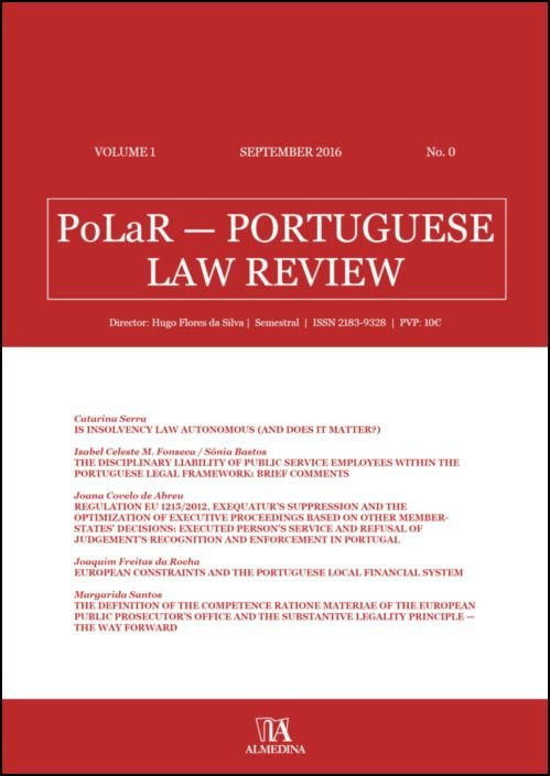 PoLaR Portuguese Law Review - vol. 1 - n.º 0